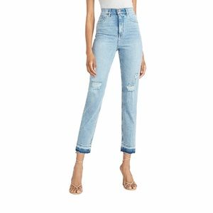 EXPRESS - Super High Waisted Ripped Released Hem